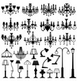 home and outdoor lightning lamps and chandeliers vector image