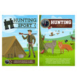 hunting sport poster hunter and animals vector image vector image