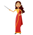 indian woman presents something with a pointer vector image vector image