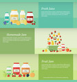 jam and juice isolated banners in flat style vector image vector image