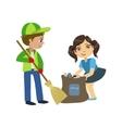 Kids With Broom And Binbag vector image vector image