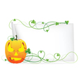 Laughing pumpkin head and a sheet of paper vector image vector image