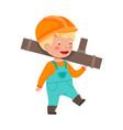little boy builder wearing hard hat carrying metal vector image vector image