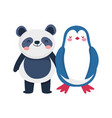 little panda and penguin cartoon character vector image vector image