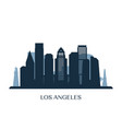 los angeles skyline monochrome silhouette vector image vector image