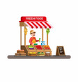 man selling fresh vegetable and fruit in tradition vector image vector image
