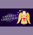 merry christmas cute background with angel vector image