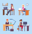 office employees sit at desks with computers set vector image vector image