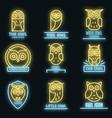 owl logo set neon