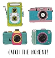 photo cameras with lettering - catch moment vector image vector image