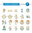 Plastic surgery concept Color thin line icons vector image vector image