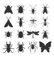 popular insects silhouette icons isolated vector image