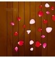Realistic rose petals on wooden background vector image vector image