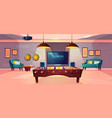 recreation room in home basement cartoon vector image vector image