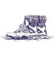 retro sport sneakers hand drawn vector image vector image