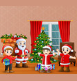 santa claus and kids celebration a christmas in th vector image vector image