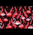 seamless autumn pattern with flamingos and leaves vector image vector image