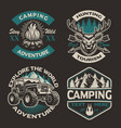 set colored logos for camping theme vector image