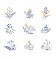 set nine bouquets vector image vector image