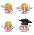 set of popcorn character with two finger wink vector image vector image