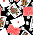 Six sided dice and blackjack cards seamless vector image vector image