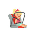sweet little girl sitting in car seat safety car vector image vector image