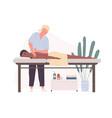 therapist practicing deep tissue massage vector image vector image