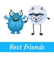 Two best friends white and blue mutant toon vector image vector image