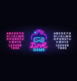 video games conceptual logo love game neon vector image