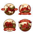 village icons with cow and mill barn in field vector image vector image