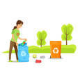 volunteer sorting garbage clean up street vector image vector image