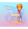 Woman or girl at cafe waiting for date romance vector image