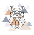 owl geometric head scandinavian style vector image