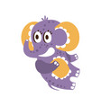adorable cartoon baby elephant character lying on