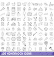 100 honeymoon icons set outline style vector image vector image