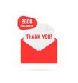 2000 followers thank you card vector image