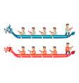 asian men in long boats in shape of dragon set vector image