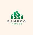 bamboo house logo template vector image vector image