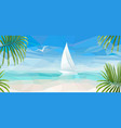 banner blue sea with a white sailboat vector image vector image