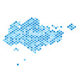 blue dotted singapore map vector image vector image