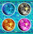 blue gold silver and pink disco ball set vector image