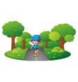 boy skateboarding in the park vector image