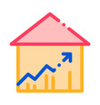 building house and arrow thin line icon vector image