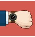 Businessman arm with hand watch vector image