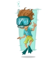 Cartoon diver with swimming mask vector image vector image