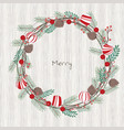 christmas decoration with pine leaves and pine vector image