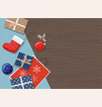 christmas presents ball on a table top view vector image vector image