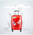 color red plastic travel bag with different vector image vector image