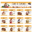 Dessert banner sketch cakes cupcakes price cards vector image vector image