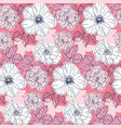 elegant seamless pattern with pink flowers vector image